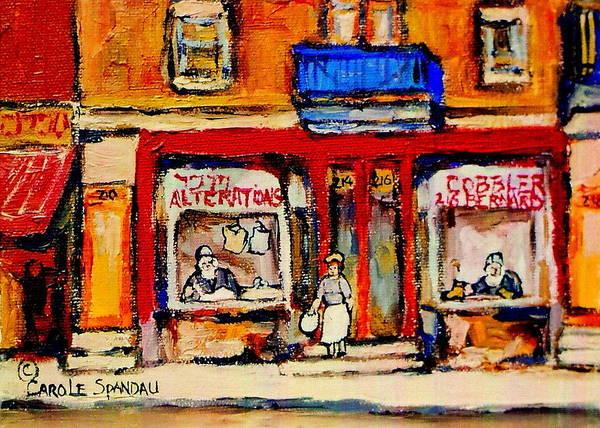 Painting - Jewish Montreal Vintage City Scenes De Bullion Street Cobbler by Carole Spandau
