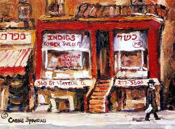 Painting - Jewish Montreal Vintage City Scenes Indigs Kosher Butcher by Carole Spandau