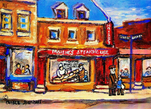 Painting - Jewish Montreal Vintage City Scenes Moishes St. Lawrence Street by Carole Spandau