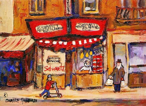 Painting - Jewish Montreal Vintage City Scenes Schwartzs Original Hebrew Deli by Carole Spandau