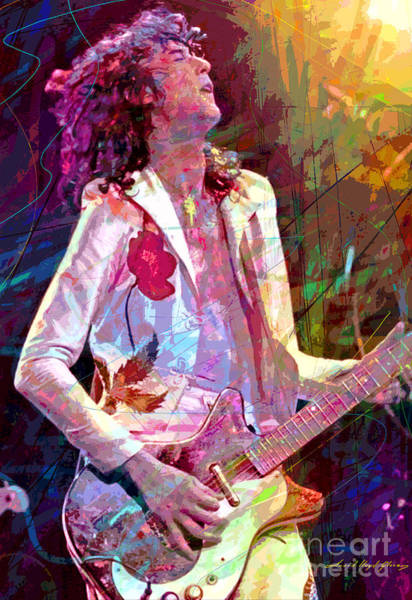 Electric Blues Painting - Jimmy Page Led Zep by David Lloyd Glover