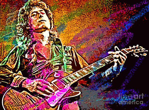 Jimmy Page Painting - Jimmy Page Les Paul Gibson by David Lloyd Glover