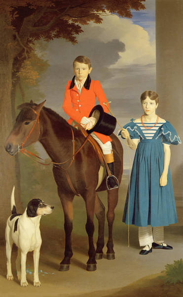 Brother And Sister Wall Art - Painting - John Gubbins Newton And His Sister Mary by Robert Burnard