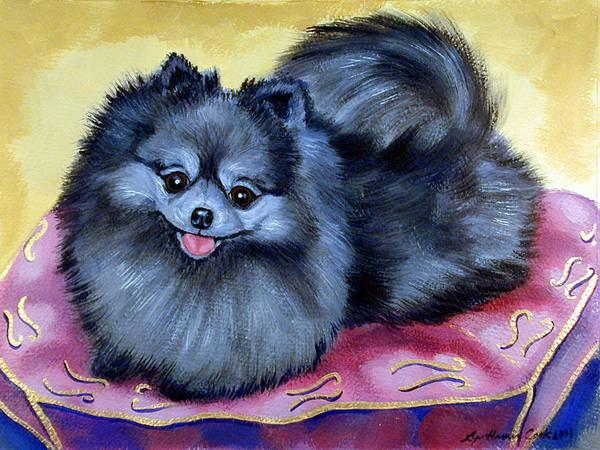 Pomeranian Painting - Joyful - Pomeranian by Lyn Cook