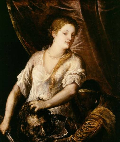 Murderer Painting - Judith With The Head Of Holofernes by Tiziano Vecellio Titian