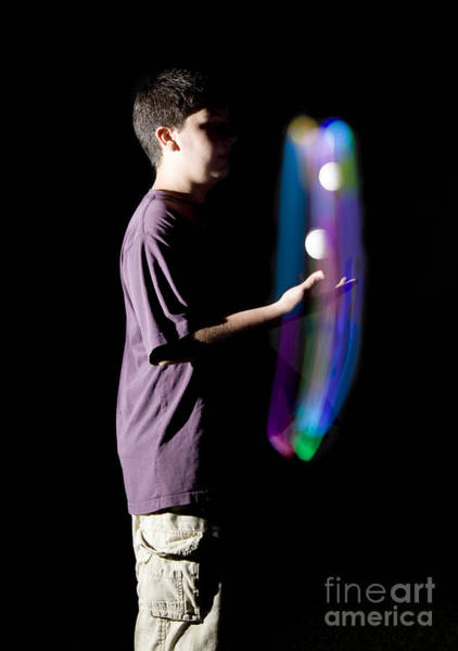 Juggler Photograph - Juggling Light-up Balls by Ted Kinsman