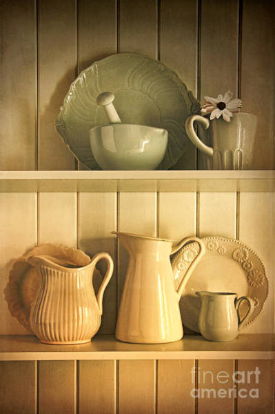 Photograph - Jugs And Pitchers On Shelves by Sandra Cunningham
