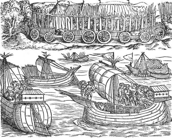 Photograph - Julius Caesar Sailing The Thames 54 Bc by Photo Researchers
