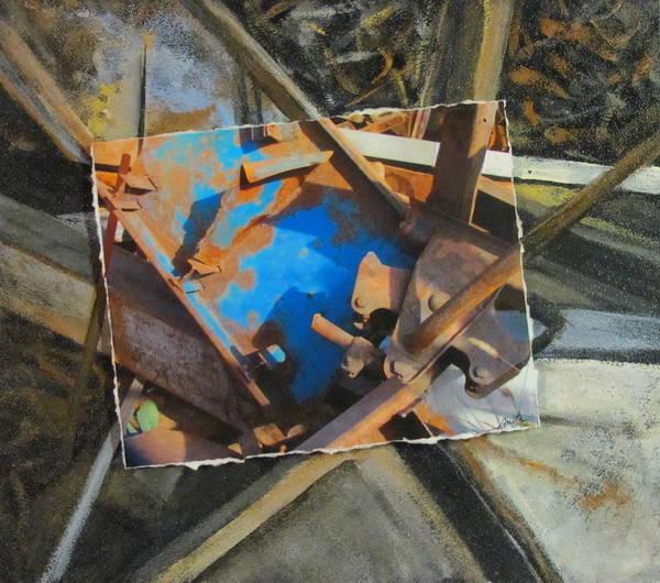 Mixed Media - Junk Abstract Layered by Anita Burgermeister