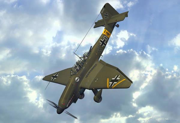 Junkers Digital Art - Junkers Ju87 Stuka by Walter Colvin