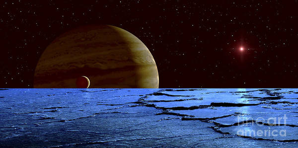 Red Planet Digital Art - Jupiter And Its Moon Lo As Seen by Frank Hettick