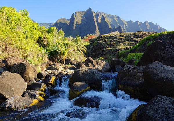 Kalalau Trail Wall Art - Photograph - Kalalau Stream And Mountains Kauai by Kevin Smith
