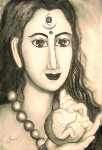 Hindu Goddess Drawing - Kali Goddess 's Nice Mom  by Sri Mala
