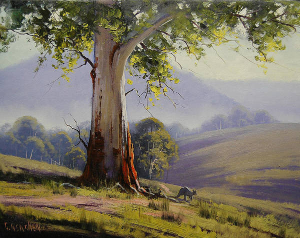 Old Tree Painting - Kangaroo And Gums by Graham Gercken