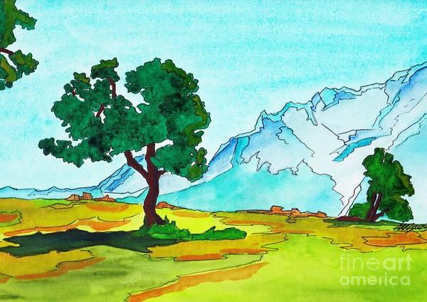 Bavarian Alps Painting - Karwendel Tree by Michaela Bautz