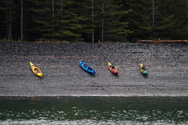 Kayak Shore Art Print