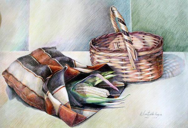 Indian Corn Drawing - Kepi Con Choclo Y Canasta by Sonia Tudela