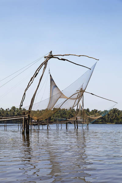 Bankside Photograph - Kerala Backwaters Commercial Fishing by Kantilal Patel