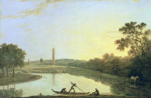 Punt Painting - Kew Gardens - The Pagoda And Bridge by Richard Wilson