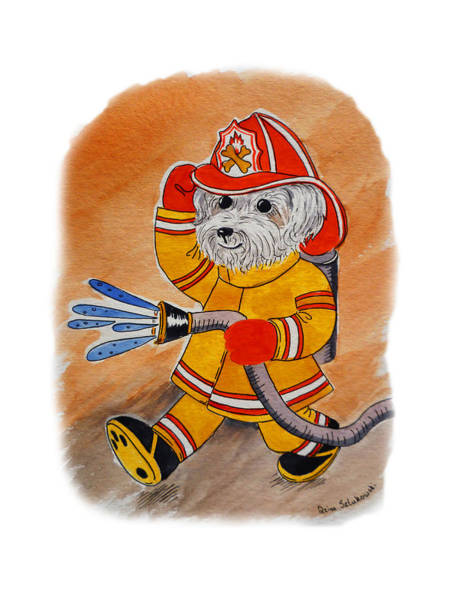 Painting - Kids Art Firedog Firefighter  by Irina Sztukowski