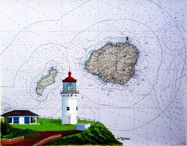Noaa Chart Wall Art - Painting - Kilauea Point Lighthouse On Noaa Chart by Mike Robles