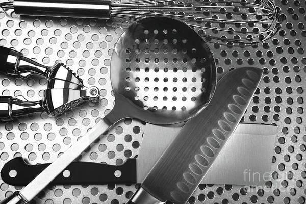 Photograph - Kitchen Utensils On Stainless Steel by Sandra Cunningham