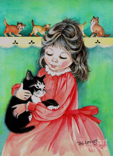Painting - Kitty Cuddles by Val Stokes