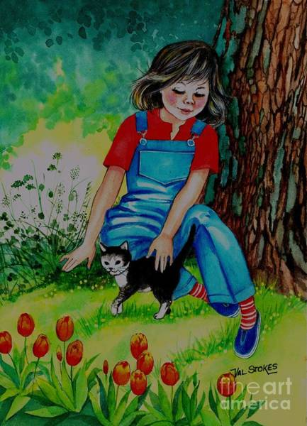 Painting - Kitty Pals by Val Stokes