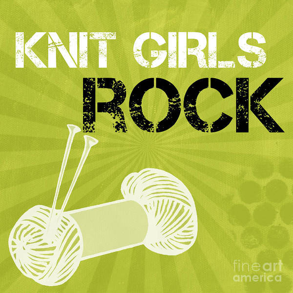 Girl Mixed Media - Knit Girls Rock by Linda Woods
