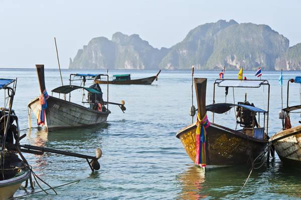 Koh Phi Phi Wall Art - Photograph - Koh Phi Phi Boats by Bill Brennan