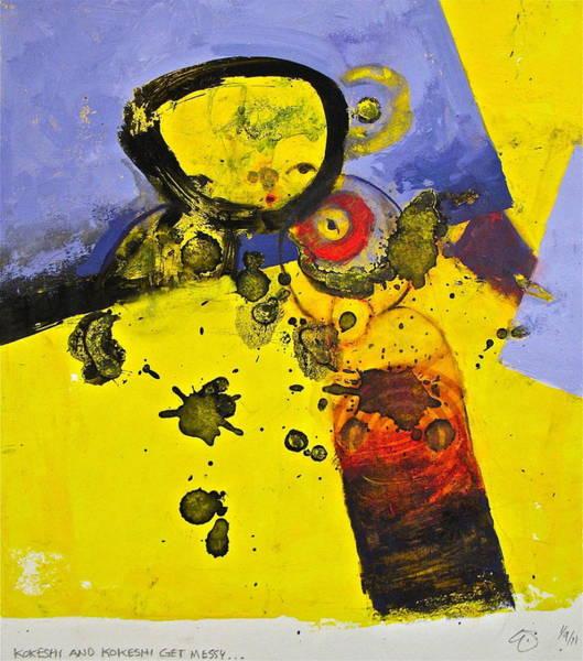 Painting - Kokeshi And Kokeshi Get Messy by Cliff Spohn