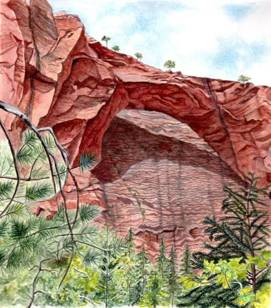 Zion Mixed Media - Kolob Canyon Arch by Inger Hutton