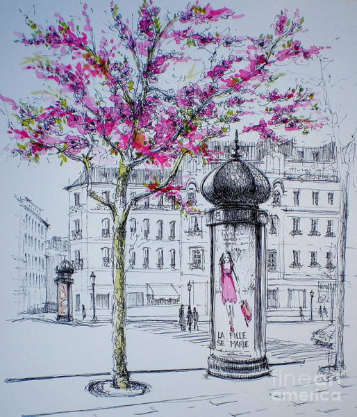 Blooming Tree Drawing - La Fille Se Marie by Dominique Eichi
