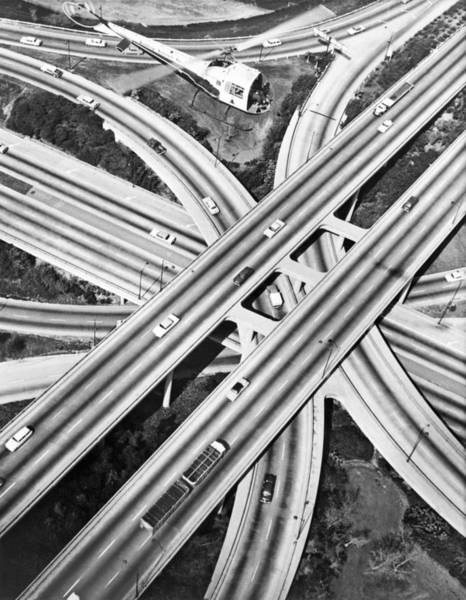 Wall Art - Photograph - La Freeway Interchange by Underwood Archives