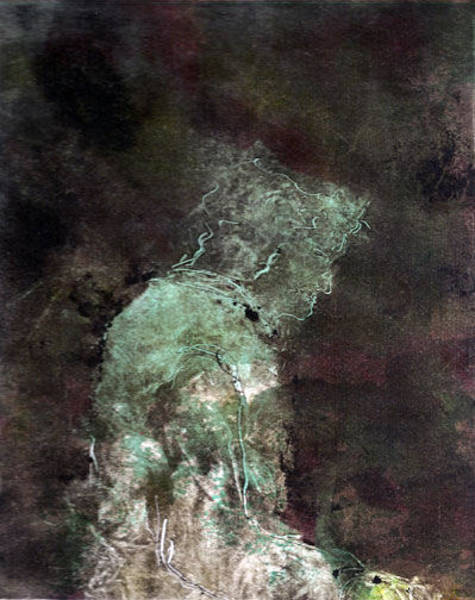 Monotype Mixed Media - La Nuit Sur Un Banc by Rochelle Mayer