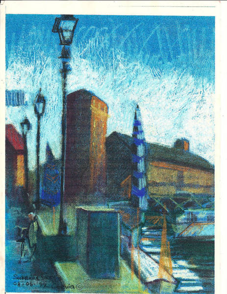 Pastel - La Vecchia Biblioteca Cervia R 1999 by Suzanne Cerny