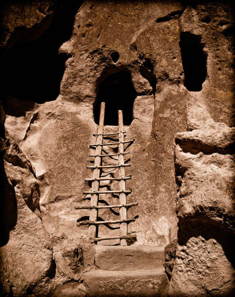 Photograph - Bandelier National Monument, New Mexico - Ladder Face by Mark Forte