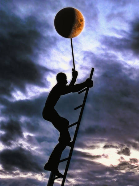 Silhoutte Photograph - Ladder To The Moon by Joachim G Pinkawa