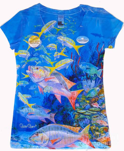 Reef Digital Art - Ladies Mutton Snapper Shirt by Carey Chen