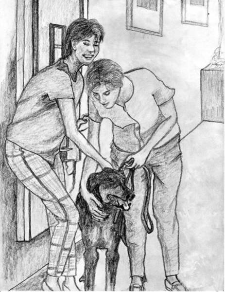 Galicia Drawing - Ladies' Pet Pencil Portrait by Romy Galicia