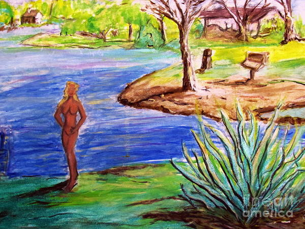 Painting - Lady By The Lake by Stanley Morganstein