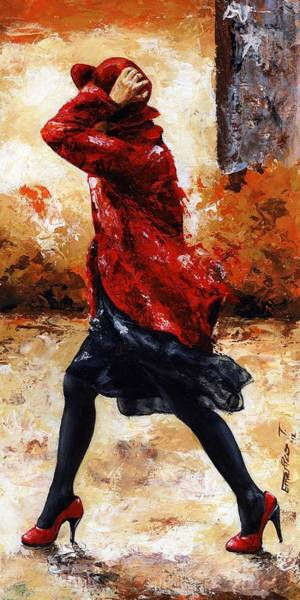 Wall Art - Painting - Lady In Red 28 by Emerico Imre Toth