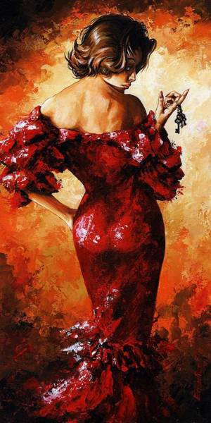 Wall Art - Painting - Lady In Red 33 by Emerico Imre Toth
