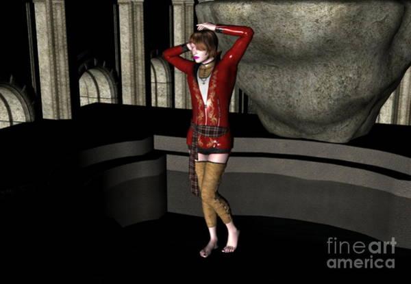Digital Art - Lady In Red by Stanley Morganstein