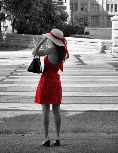 Lady In Red With Color Splash Art Print