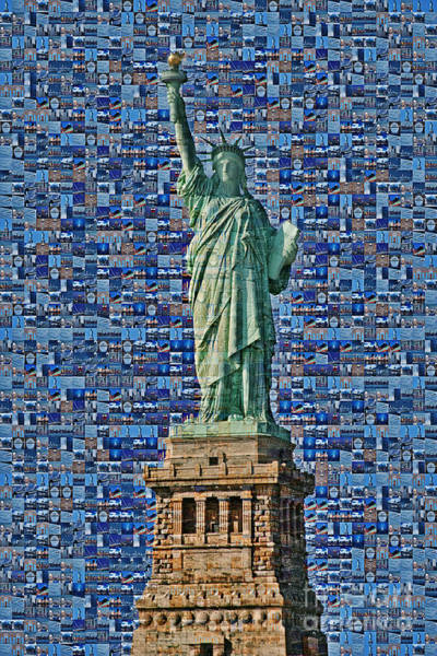 Statue Of Liberty National Monument Wall Art - Photograph - Lady Liberty Mosaic by Susan Candelario