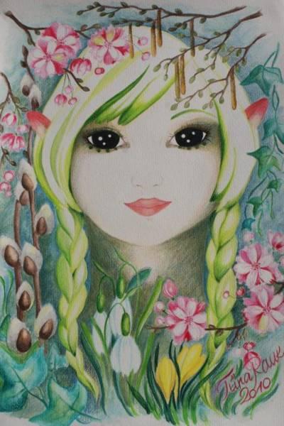 Snowdrop Painting - Lady Spring by Tiina Rauk