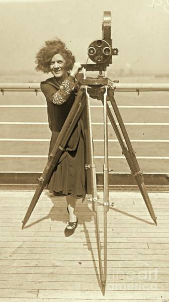 Imperial Russia Photograph - Lajinska With Vintage Movie Camera by Padre Art
