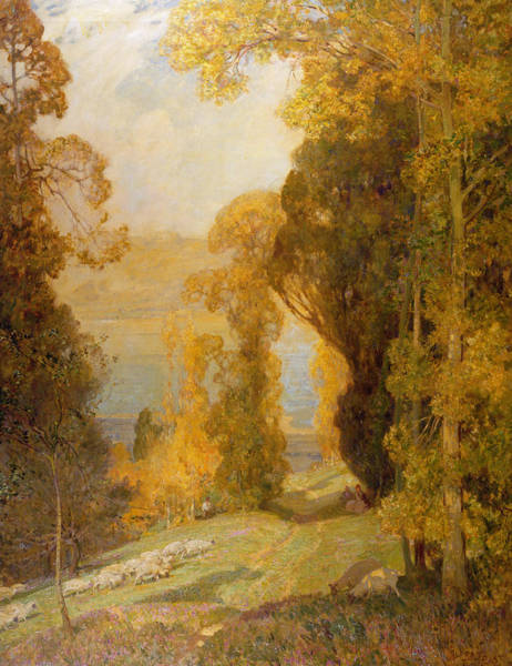 Turning Painting - Lake Bourget From Mont Revard  by Sir Alfred East