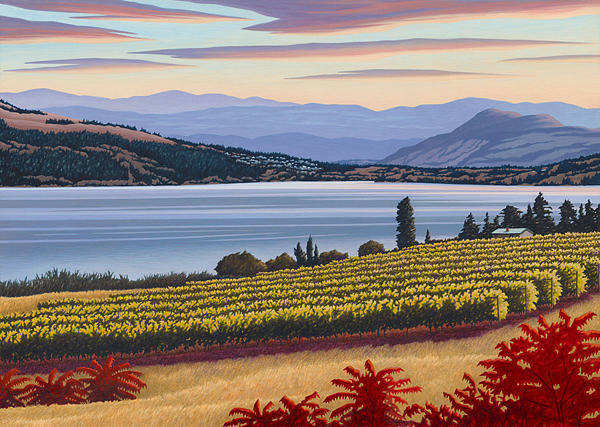 Okanagan Valley Painting - Lake Country Vines  by Mal Gagnon